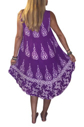 ONE SIZE BOHO COVERUP BATIK DRESS -  PURPLE! ONE SIZE (Up to Size 18).