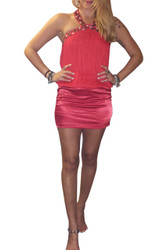 Jeweled & Studded Halter Top/Mini Dress. Red.