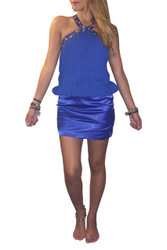 Jeweled & Studded Halter Top/Mini Dress. Blue.