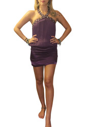 Jeweled & Studded Halter Top/Mini Dress. Purple.