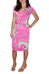 Cotton/Poly/Spandex Blend Dress. V-Neck Dress With Knotted Side. Pink.