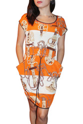 3% Silk Dress Is Fun & Light! Ties In The Middle. Orange Printed Pattern.