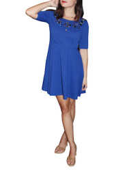 80% Cotton Royal Blue Skater Dress With Beaded Neckline!