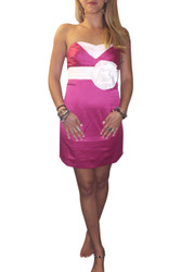 Strapless Bodycon Dress. Fuchsia With Oversized White Flower.
