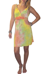Braided Shoulder Tie Dress With Belt! Yellow/Orange Tie Dye.