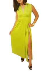 Sleeveless, V-Neck Maxi Dress! Lime Green.