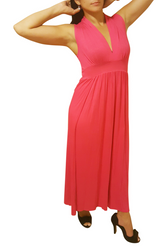 Sleeveless, V-Neck Maxi Dress with Solid Back! Fuchsia.