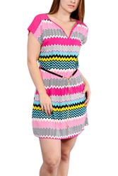 Pink Chevron V-Neck Dress With Black Belt And Gold Chain.
