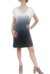 NORDSTROM'S QUALITY V-Neck T-Shirt Dress with Ombre Tie Dye from Nude to Blue!