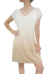 NORDSTROM'S QUALITY V-Neck T-Shirt Dress with Ombre Tie Dye from Nude to Khaki!