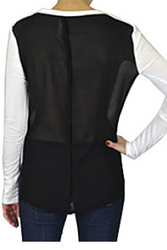 NORDSTROM'S QUALITY Black & White Top with Sheer Black Back!