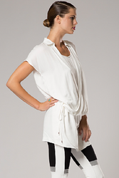 NORDSTROM'S QUALITY HI-LOW WHITE TUNIC TOP/DRESS WITH COLLAR!