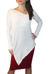 NORDSTROM'S QUALITY White Top has Long, Asymmetrical Hem Line and Cutout Open Side!