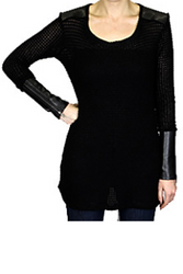 NORDSTROM'S QUALITY Black Sweater with Real Genuine Leather Shoulders and Long Cuffs!