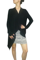NORDSTROM'S QUALITY Flyaway, Open Cardigan! Solid Black, Heavy Ribbed Material.