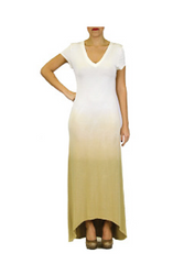 NORDSTROM'S QUALITY V-Neck Maxi Dress Dress with Ombre Tie Dye from Nude to Khaki!