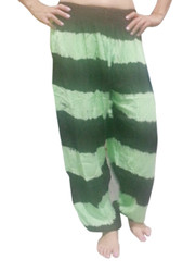 ONE SIZE RAYON HAREM PANTS! MINT & BLACK TIE DYE STRIPES. (One-Size Up to Size 18)