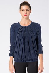 NORDSTROM'S QUALITY Navy Blue Pleated Top with Zipper Front!