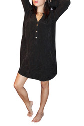NORDSTROM'S QUALITY Button Front Smock Dress is 100% Cupra! Black.