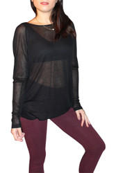 NORDSTROM'S QUALITY RAYON TOP with Open, Cowl Back!  Black.