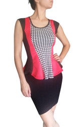 Peplum Top with Red & Houndstooth Accent!
