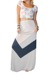 Long, Ankle Length Maxi Skirt! Mocha With Navy Stripe.