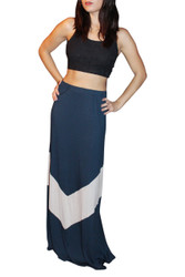 Long, Ankle Length Maxi Skirt! Navy With Mocha Stripe.
