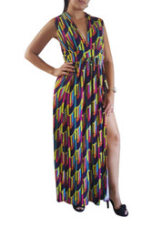 PLUS SIZE GEO PRINT MAXI DRESS! PURPLE MULTI.