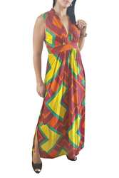 PLUS SIZE Maxi Dress is Rust with Hot Yellow & Green.