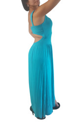 Blue Teal Maxi Dress With Open Cutout Back!