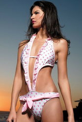 Amazing Halter One Piece Swimsuit! White with Pink Adorable Pink Hearts.