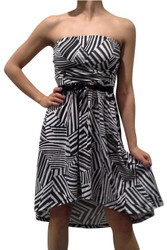 Belted, Strapless Dress in Black & White Geo Zebra Print!