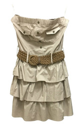 PLUS SIZE Belted, Strapless Top/Dress Is 98% Cotton. Khaki.
