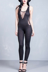 Long, Full-Length Black Jumpsuit with Sheer Chest & Back!