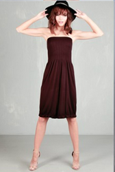 STRAPLESS DRESS FROM DOTS! HIGH QUALITY TRI-BLEND POLY, RAYON & SPANDEX. DEEP BROWN.