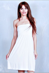 STRAPLESS DRESS FROM DOTS! HIGH QUALITY TRI-BLEND POLY, RAYON & SPANDEX. WHITE.