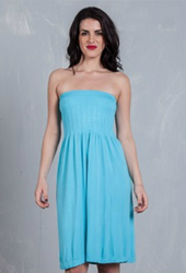 STRAPLESS DRESS FROM DOTS! HIGH QUALITY TRI-BLEND POLY, RAYON & SPANDEX. TURQUOISE.