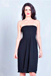 STRAPLESS DRESS FROM DOTS! HIGH QUALITY TRI-BLEND POLY, RAYON & SPANDEX. BLACK.