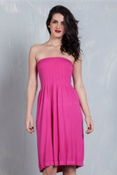 STRAPLESS DRESS FROM DOTS! HIGH QUALITY TRI-BLEND POLY, RAYON & SPANDEX. FUCHSIA.