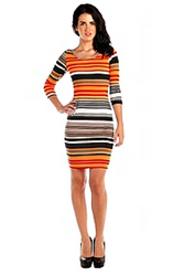 Black & Orange Scoop Neck Dress from CHESLEY!
