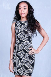 Black & White Bodycon Dress with Graphic Print: PARENTAL ADVISORY!