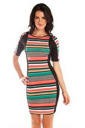 Green & Peach Striped Bodycon Dress from CHESLEY!