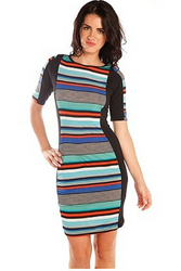 Blue & Multi Striped Bodycon Dress from CHESLEY!