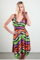 Orange & Green Swirling Pattern Dress from CHESLEY!