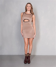 Solid Mocha Brown Cutout Bodycon Dress from CHESLEY!