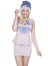 Pink Bodycon Dress with Cutouts & Peplum!