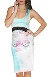 Silky Sleeveless Dress. Sheer Lace Band. Turquoise Sublimation Print & Stones.