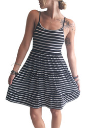 Black & White Striped Dress with Spaghetti Straps! 96% Rayon.