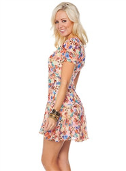 Pink Floral Pattern Summer Dress!