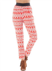 Harem Pants with Orange/Red Aztec Pattern and Black Waistband!